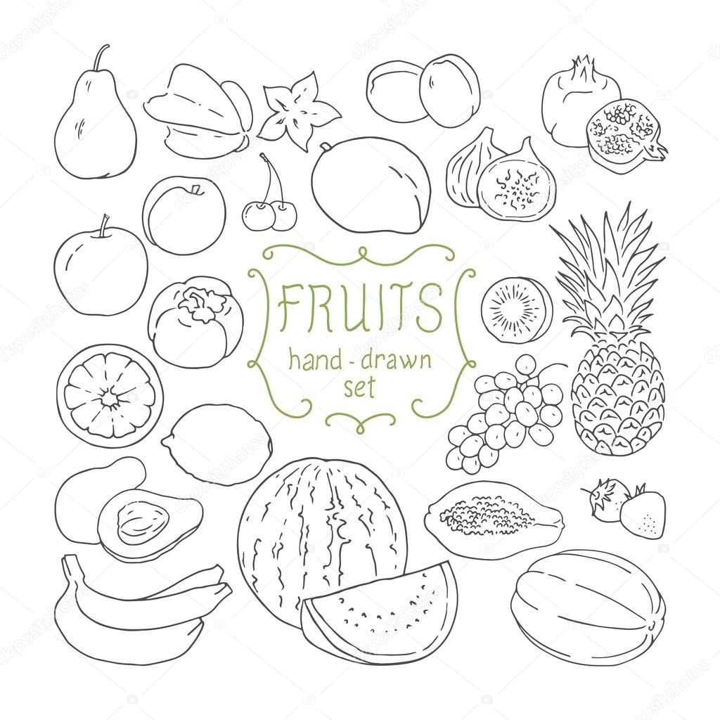 Fruit Dessin mise à fruit dessin main. illustration vectorielle — image