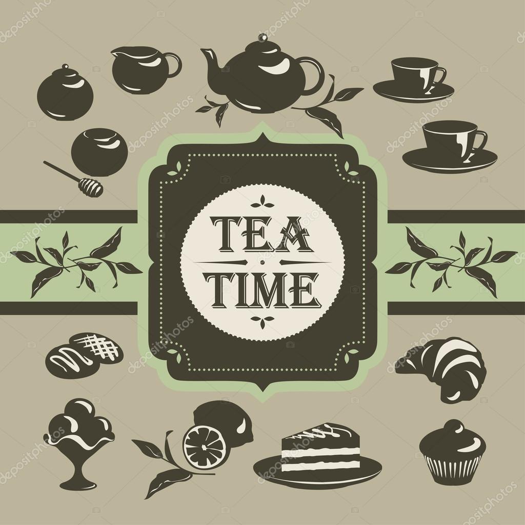 Tea and dessert. Seamless patterns