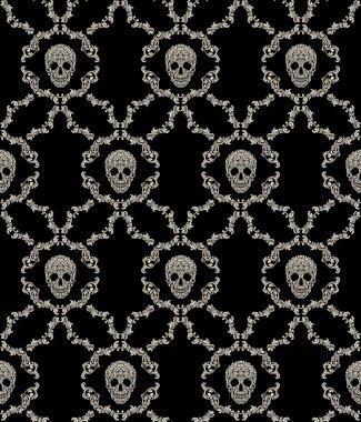 Skull ornamental seamless pattern. Vector illustration