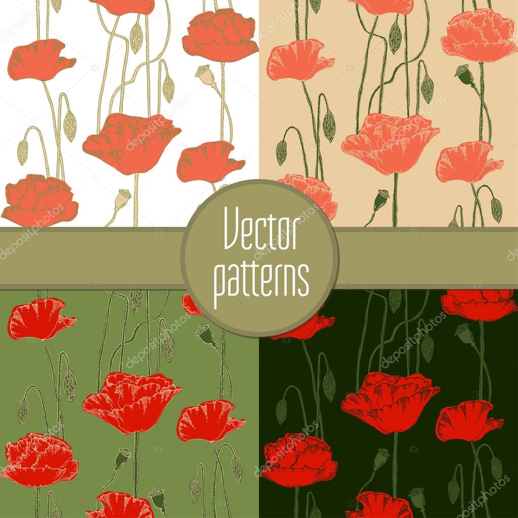 Seamless pattern with poppies. Hand-drawn vector illustration.