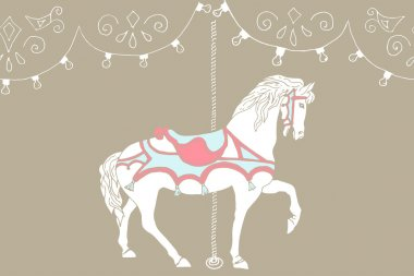 Hand drawn carousel horse. Vector illustration