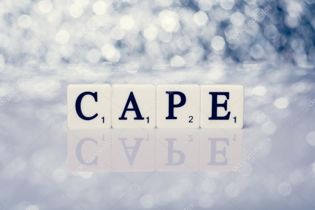 Scritta di piastrelle con lettere città del capo u foto stock