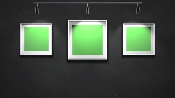 Pohybová kamera v galerii s obrázkem a moderním rámečkem se zelenou maketovou obrazovkou, umělecké pozadí