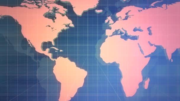 Novinky grafická animace s liniemi a světovou mapou, abstraktní pozadí
