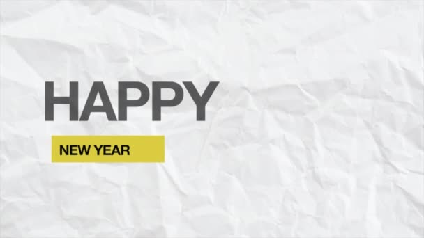 Animace intro text šťastný nový rok na bílé módě a papírové pozadí