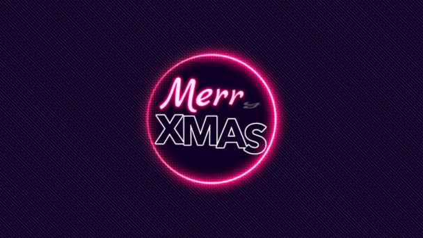 Animation intro text Merry Xmas on fashion and club background with glowing circle