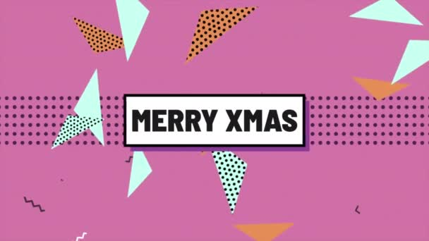 Animation text Merry Xmas and motion abstract geometric shapes, Memphis background