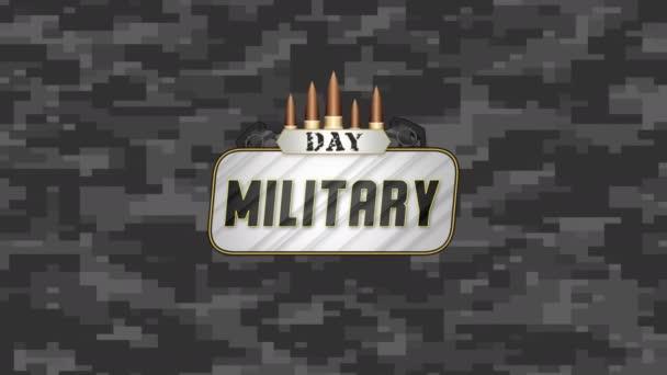 Animációs szöveg Katonai nap katonai háttérben a támogatókkal