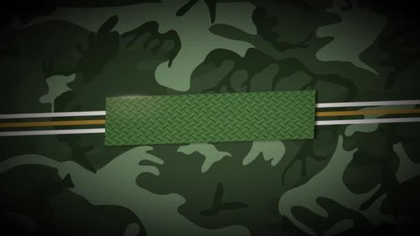 Animációs vonalak és katonai csillagok zöld háttérrel