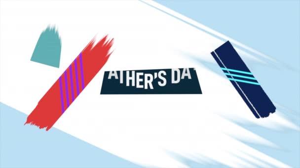 Animációs szöveg Apák napja és mozgása elvont geometrikus formák, Memphis háttér