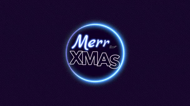 Animation intro text Merry Christmas on fashion and club background with glowing blue circle