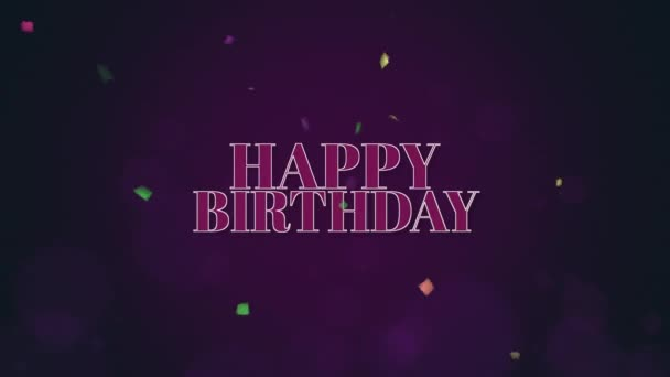 Animated closeup Happy Birthday text with confetti on holiday background