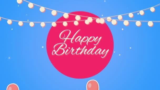 Animovaný detailní záběr Happy Birthday text s balónky na prázdninovém pozadí