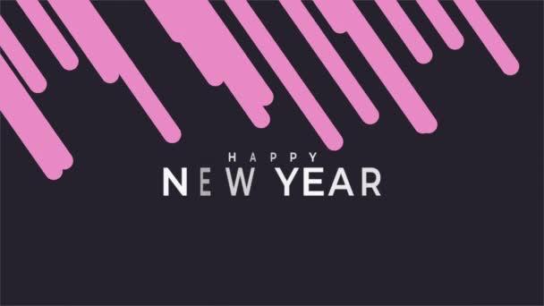 Animáció intro szöveg Boldog új évet a fekete divat és minimalizmus háttér rózsaszín csíkok