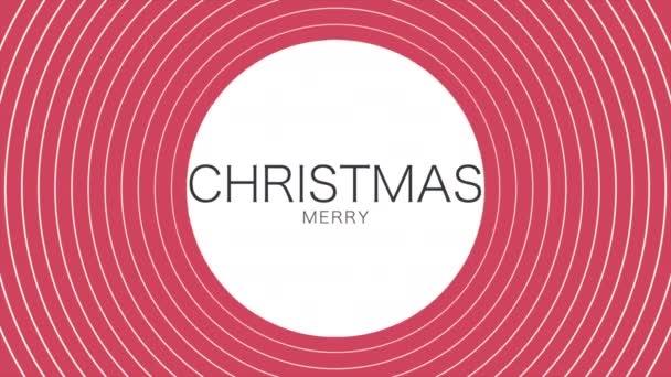 Animace intro text Veselé Vánoce na červené módě a minimalismus pozadí se závratěmi linií