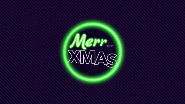 Animation intro text Merry Xmas on fashion and club background with glowing green circle
