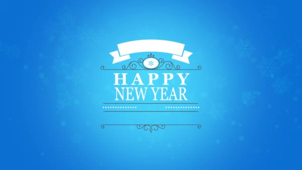 Animated closeup Happy New Year text and snowflake on snow blue background