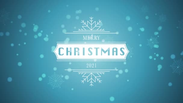 Animated closeup Merry Christmas and 2021 text, white snowflake and glitter on snow blue background