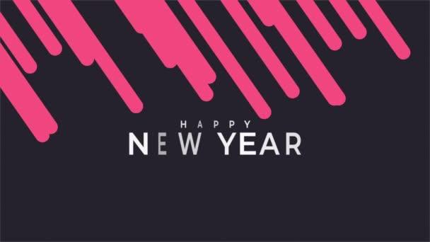 Animációs szöveg Boldog új évet a fekete divat és a minimalizmus háttér piros csíkok