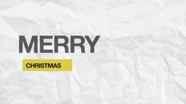 Animace text Veselé Vánoce na bílém hipster a papírové pozadí