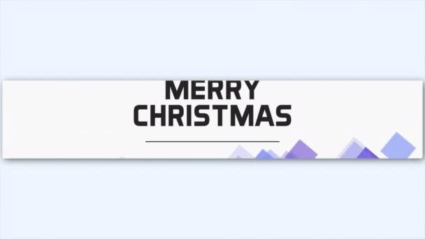 Animációs szöveg Boldog karácsonyt fehér divat és minimalizmus háttér geometriai minta