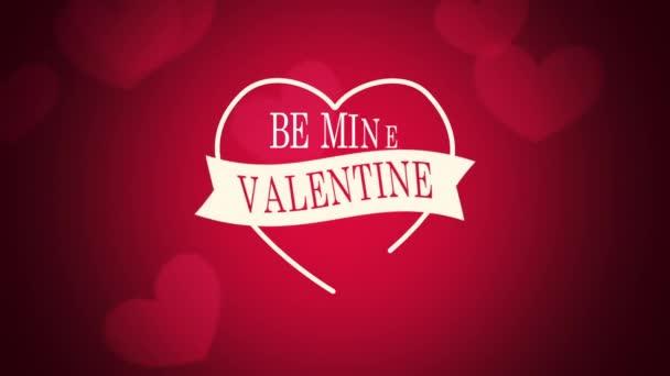 Animované detailní Be Mine Valentine text a pohyb romantické červené srdce na Valentýna pozadí