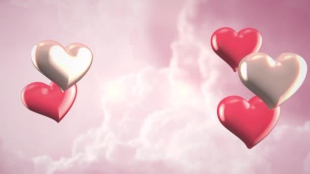 Animace detailní pohyb malé romantické srdce na růžové mraky Valentines den lesklé pozadí