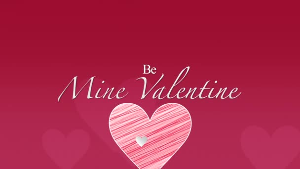 Animated closeup Be Mine Valentine text and motion romantic red hearts on Valentines day background