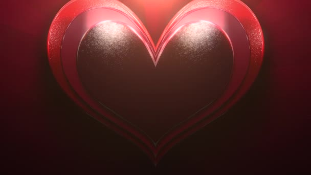 Closeup motion big romantic heart on red Valentines day shiny background