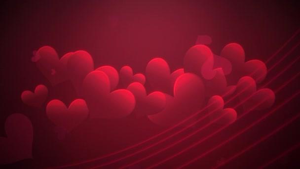 Animation Nahaufnahme Bewegung kleine romantische Herzen und abstrakte Linien auf rotem Valentinstag glänzenden Hintergrund