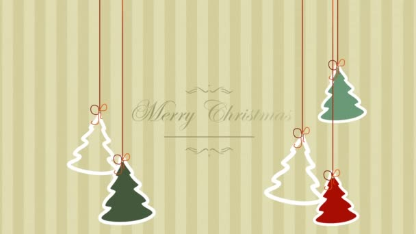 Animated closeup Merry Christmas text and Christmas trees on winter holiday background