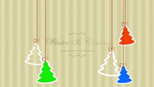 Animovaný detailní Zima přichází text a vánoční stromky na zimní dovolenou pozadí