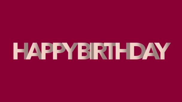 Animációs szöveg Boldog születésnapot a piros divat és a minimalizmus háttér