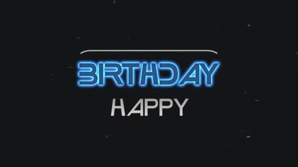 Animációs szöveg Boldog születésnapot és mozgás elvont kék neon szöveg, retro háttér