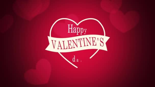 Animované detailní Happy Valentines Day text a pohyb romantické velké a malé červené srdce na Valentýna pozadí