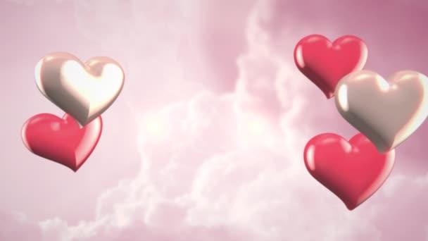 Animation Nahaufnahme Bewegung kleine romantische Herzen auf rosa bewölkt Valentinstag glänzenden Hintergrund