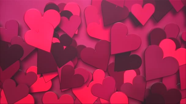 Animation closeup motion big romantic hearts on red Valentines day shiny background