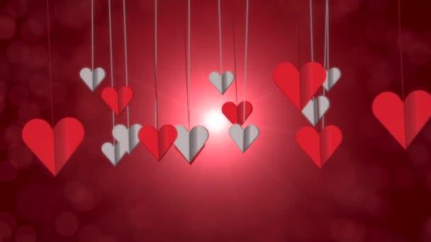 Animace detailní pohyb malé romantické srdce na červeném Valentines den lesklé pozadí