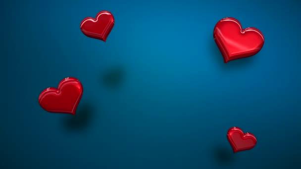 Animáció closeup mozgás kis romantikus szív kék Valentin nap fényes háttér