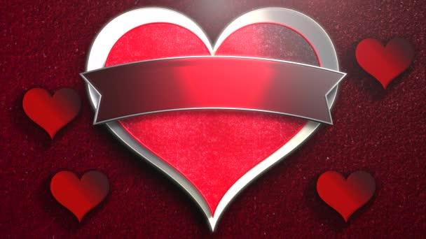 Animace detailní pohyb velké romantické srdce a malé srdce na červeném Valentines den lesklé pozadí
