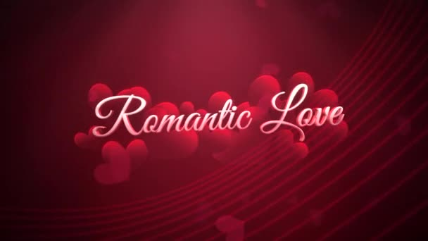 Animated closeup Romantic Love text and motion romantic heart on Valentines day shiny background