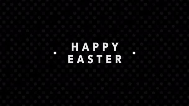 Animationstext Frohe Ostern auf schwarzer Mode und minimalistischem Hintergrund