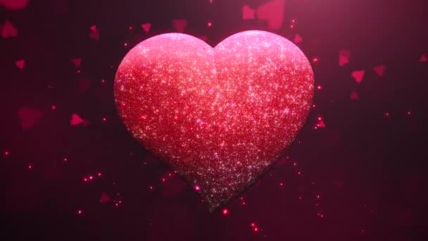 Animace detailní pohyb velké romantické srdce a třpytky na červeném Valentines den lesklé pozadí