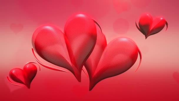 Animace detailní pohyb velké a malé červené romantické srdce na červeném Valentines den lesklé pozadí
