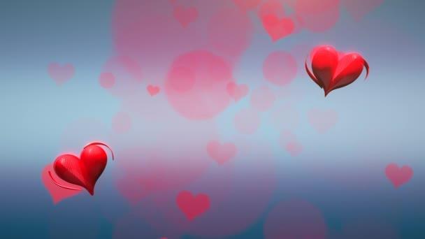 Animace pohyb malé červené romantické srdce na modré Valentines den lesklé pozadí