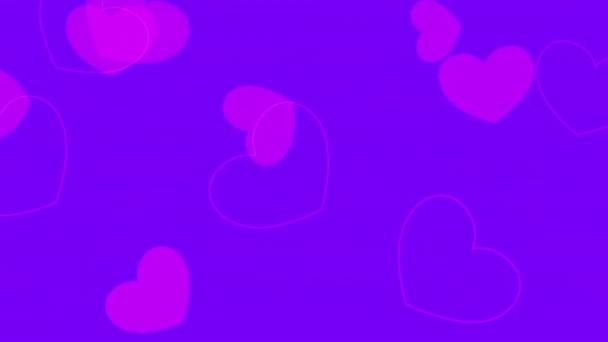 Animált closeup romantikus rózsaszín szív lila Valentin nap háttér