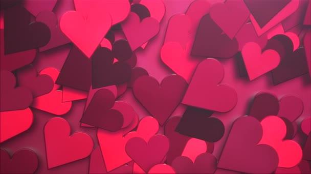 Animace detailní pohyb malé romantické srdce vzor na červeném Valentines den lesklé pozadí.
