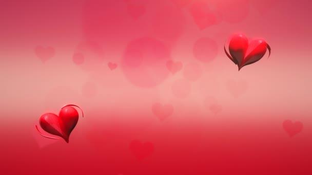 Animace detailní pohyb malé červené romantické srdce na červeném Valentines den lesklé pozadí.