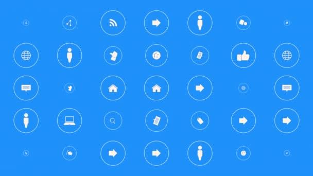 Ikony pohybové sítě na jednoduchém pozadí