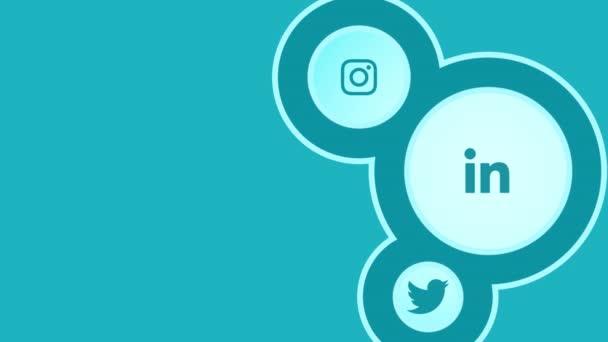 Animációs mozgás ikonok szociális hálózatok egyszerű háttér